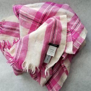 J. Crew wool pink white plaid scarf